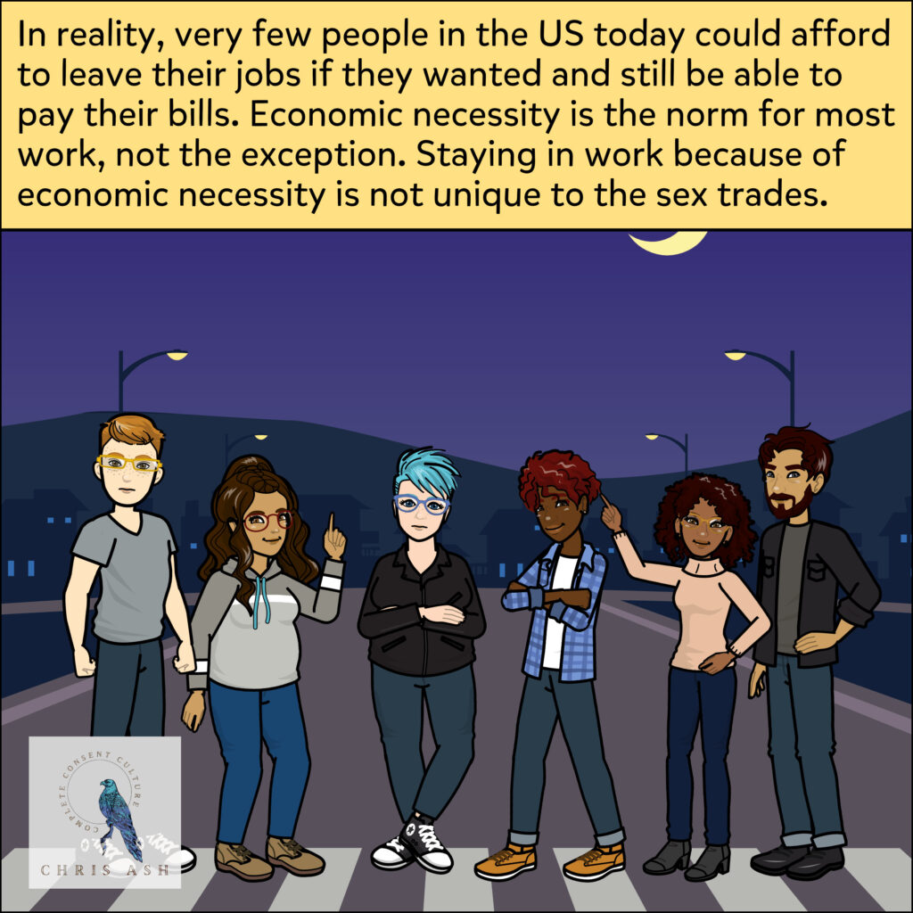 """Image shows a group of people who have lived experience in the sex trades across the spectrum of consent, including survivors of trafficking. They are standing on a crosswalk on a beautiful night, looking powerful. Caption reads: """"In reality, very few people in the US today could afford to leave their jobs if they wanted and still be able to pay their bills. Economic necessity is the norm for most work, not the exception. Staying in work because of economic necessity is not unique to the sex trades."""""""