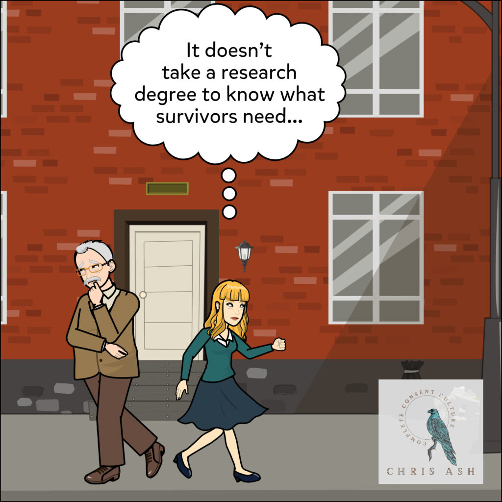 Image Description: Professor is walking away from the survivors. Sarah, a blonde-haired woman in a skirt and sweater passes him.