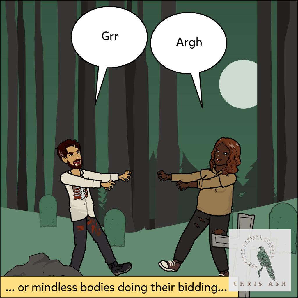 """Image description: Sam and Talia are in a dark graveyard at night, dressed like zombies. Sam says """"Grr!"""" Talia says """"Argh!"""" The caption reads: """"... or mindless bodies doing their bidding…"""""""