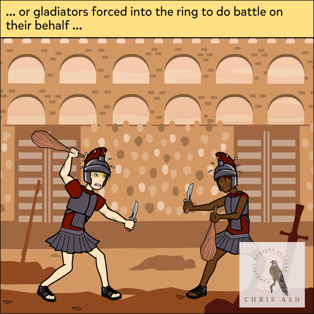 """Image description: Nolan and Kade are in a Roman arena, wearing armor and traditional Roman military gear. Their faces look scared as they prepare to fight, holding weapons in each hand. The caption reads: """"... or gladiators forced into the ring to do battle on their behalf …"""""""